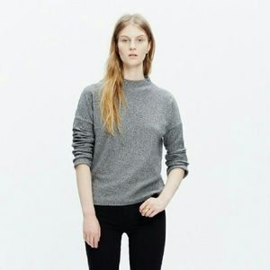 Madewell Heather Grey Ribbed Funnelneck Top